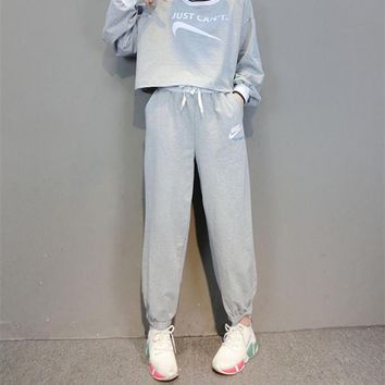 """NIKE"" Fashion Casual Solid Color Letter Print Long Sleeve Hooded Set Two-Piece Sportswear"