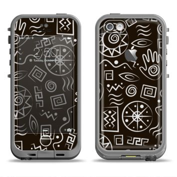The Black and White Cave Symbols Apple iPhone 5c LifeProof Fre Case Skin Set