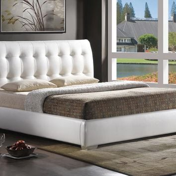 Baxton Studio Jeslyn White Modern Bed with Tufted Headboard - King Size Set of