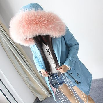Women's Fashion Large raccoon fur collar long  hooded coat parkas outwear High imitation fur lining winter jacket outdoors