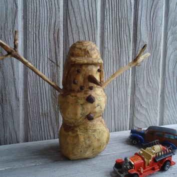 Hand carved wood snowman - Rustic wood snowman - Hand made snowman - Christmas decor - Home Decor - Office decor - Wooden snowman - Artwork