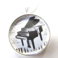 Piano necklace, music teacher, sing, silver, music notes, instruments