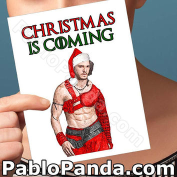 Holiday Cards | Jon Snow | Christmas Cards Cute Christmas Card Merry Christmas Christmas Humour Girlfriend Card Boyfriend Gift Men Husband