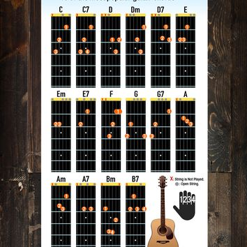 Guitar Chord Chart Poster. 16 Popular Chords Guide. Perfect for Students and Teachers. #P1003