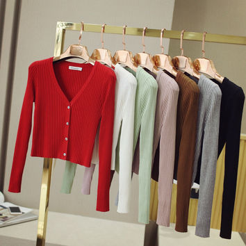 2017 Contrast Spring Autumn Women All Match Cardigan Outerwear Long Sleeve Slim Shrug V-neck Short Knitted Sweaters Coat Cape