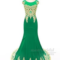 Gorgeous Green and gold Stretch Satin Appliques rhinestones Train long Mermaid prom dresses/Elegant Mermaid Formal long evening dress EM914