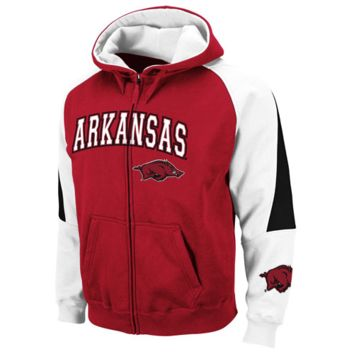 Arkansas Razorbacks Cardinal-White Playmaker Full Zip Hoodie Sweatshirt