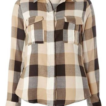 Camel Large Gingham Shirt