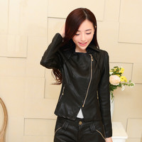 Leather : PU Leather Korean Zip Biker Jacket YRB0429