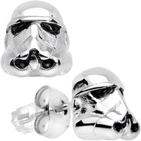 Officially Licensed 316L Stainless Steel Storm Trooper Earrings   Body Candy Body Jewelry