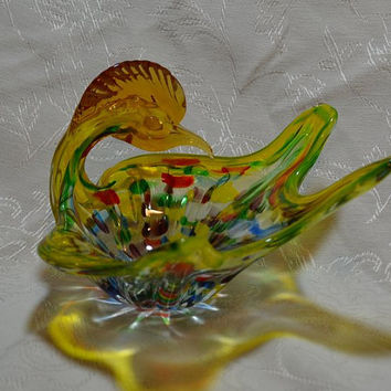 RETRO Art Glass Roadrunner Bowl Psychedelic Murano Multi Colored Blown Glass Applied Eyes
