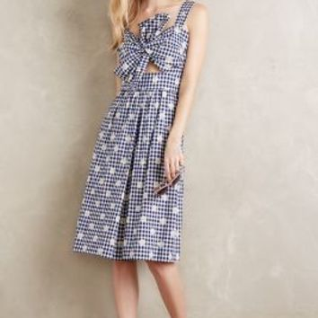 Whit Knotted Cutout Dress in Blue Motif Size:
