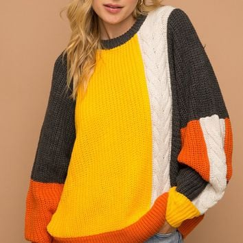 Fireside Chat Grey Yellow White Orange Long Batwing Sleeve Cable Pullover Sweater