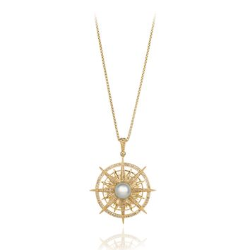 14 Karat Gold Compass Necklace