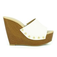 Mark and Maddux Asia-01 Slip-on Platform Wedge Sandal in White @ ippolitan.com