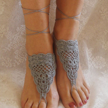 Gray Cut-Out Crochet Toe Ring Barefoot Sandals
