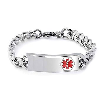 Medical Identification Alert ID Bracelet Curb Chain Stainless Steel