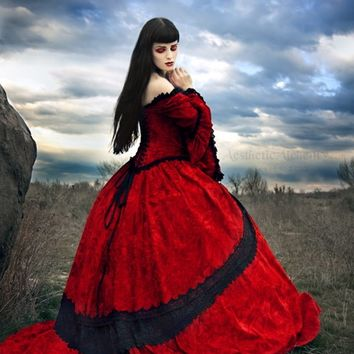 Red Velvet Fairy Medieval Renaissance Wedding Gown with Overskirts- Custom