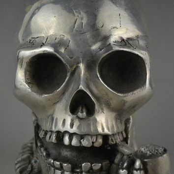Skull Skulls Halloween Fall 5.4inch collectible china handwork tibet silver carve big  selfdom statue Calavera