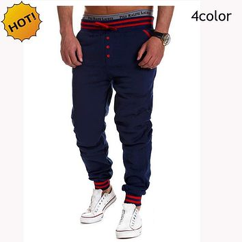 HOT 2017 spring Autumn Casual Elastic Drawstring Ankle Banded Stretch Pants Mens Hip Hop Traning Loose Mens Sweatpants