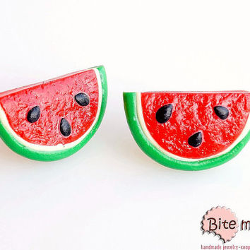 Watermelon Slices Stud Earrings, Summer Fruit Studs, Watermelon Earrings, Polymer Clay Food, Fruit Earrings, Foodie gift, Faux Food Earrings