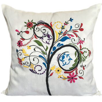 Tree of Life Decorative Pillow White Tree of Life Pillow Tree Pillow 18x18 Tree of Life Pillow Tree of Life Cushion Accent Pillow