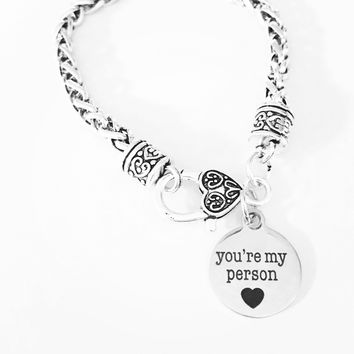 You're My Person Best Friend Sister Gift Charm Bracelet