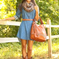 LOVE STITCH:Autumn Classic Denim Dress