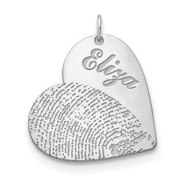 Personalized Name And Fingerprint Heart Pendant