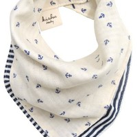 kishu baby Natural Nautical Reversible Bandana Bib, Ivory, One Size
