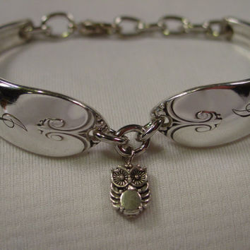 A Spoon Rings Plus Pretty Spoon Bracelet Exquisite Pattern With J Monogram and Owl Charm Vintage Spoon and Fork Jewelry b63