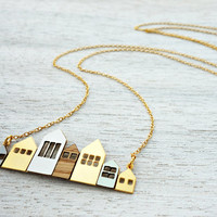Long Copenhagen Necklace, signature necklace, minimalist houses, Scandinavian design