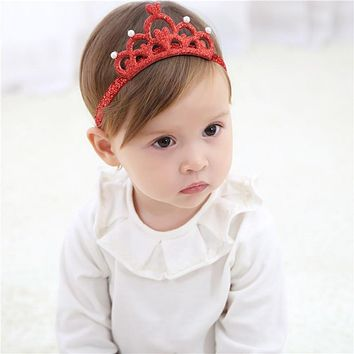 New Arrival Colorful Glittering Crown Headband Baby Girls Elastic Hair Band Princess Tiara Turban Kids Hair Accessories