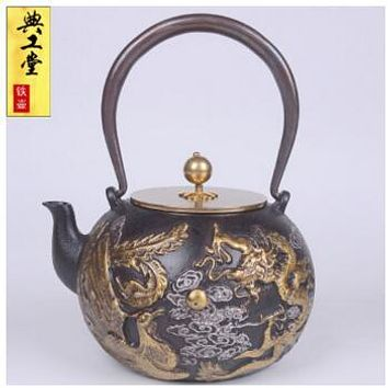 New Design 1.4L Dragon and Phoenix Iron Kettle Japanese Iron Teapot - Uncoated