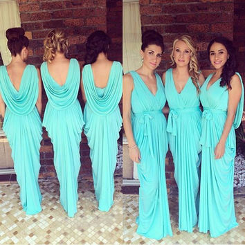 Glowing Teal Turquoise Bridesmaid Dress Sexy V Neck Ruffles Chiffon Backless Maid Of Honor Dress For Wedding Party Girls Dress
