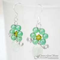 Aventurine Earrings Flower Shape Silver Earring Gem Stone Silver Chandelier Earrings Handmade by Flower GemStone