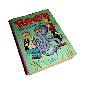 Vintage Popeye Little Big Book 60's Popeye Comic Book 1960's Children Story Book Popeye Illustrated Danger Ahoy 1969 Whitman Collectible