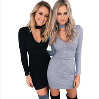 Winter Autumn Dress Women 2016 Long Sleeve Sexy Party Black Knitted Dress Casual Bodycon Dress Vestidos Short Sweater Dresses