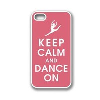 iPhone 4 Case White Silicone Case Protective iPhone 4/4s Case Keep Calm Dance On