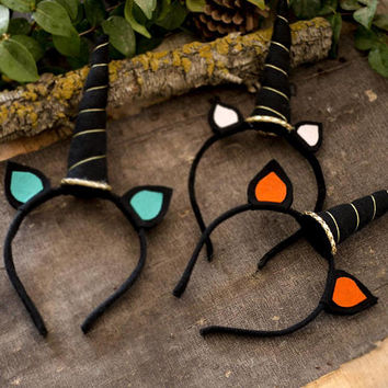 Unicorn Horn Hairband, Black Horn and Black Felt Ears, Felt Unicorn ,Geek Accessories, Cosplay Costume Accessories