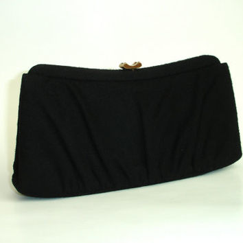 Vintage Purse: Garay Black Wool Clutch, 1950's or 1960'sMid Century Evening Bag, Handbag with Brass Trim