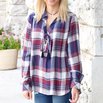 Loose Ruffle + Tie Plaid Blouse {Navy+Red}