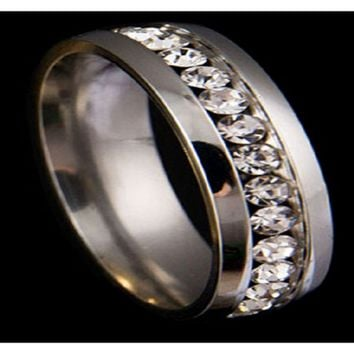 Women's Couple Lovers Awesome Rhinestone Titanium Steel Engagement Ring (8)