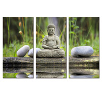 Modern Art Buddha Painting On Canvas For Home Decoration Painting Unframed 3 Pieces /Set  Free Shipping