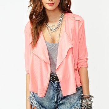 Mesh Moto Jacket - Neon Pink in What's New at Nasty Gal