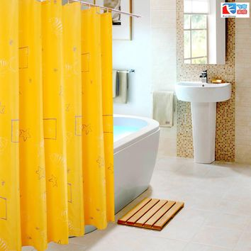 Feiqiong Brand 180*180cm 1Pcs Yellow Sea Stars Waterproof Shower Curtains 100% Polyester Home Bathroom Curtains