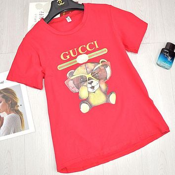 GUCCI New Style Short Sleeve Glasses Bear Cartoon Pattern Print Cotton T-Shirt Top Red