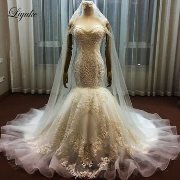 Liyuke Vintage Organza Sweetheart Bride Dress With Natural Waist Heavily Beading Pearls Mermaid Wedding Dresses Vestido De Noiva