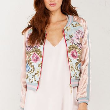 Embroidered Bomber Jacket in Pink