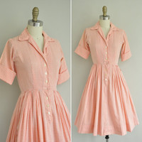 vintage 1950s dress / 50s peach cotton dress by simplicityisbliss